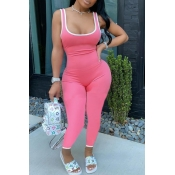 lovely Sportswear Patchwork Light Pink One-piece Jumpsuit