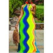 lovely Bohemian Striped Print Blue Maxi Dress