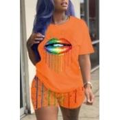 Lovely Casual Lip Print JacinthTwo-piece Shorts Set