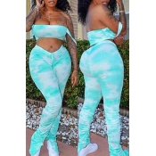 lovely Trendy Dew Shoulder Tie-dye Blue Two-piece Pants Set