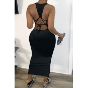 Lovely Sexy Backless Black Ankle Length Dress