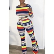 lovely Casual Rainbow Striped Blue Two-piece Pants