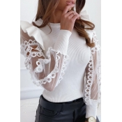 lovely Sweet Patchwork Flounce Design White Sweate