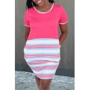 lovely Casual Striped Patchwork Pink Knee Length D