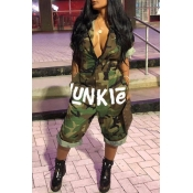 Lovely Leisure Camo Print Army GreenOne-piece Jumpsuit