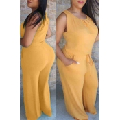 lovely Casual O Neck Lace-up Yellow Plus Size One-