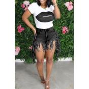 lovely Casual O Neck Print Tassel Design Black Two-piece Shorts Set