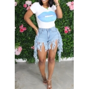 lovely Casual O Neck Print Tassel Design Baby Blue Two-piece Shorts Set