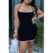 lovely Sportswear Patchwork Black Mini Dress