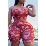 lovely Stylish Camo Print Pink Plus Size Two-piece