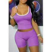 lovely Sportswear Patchwork Purple Two-piece Shorts Set