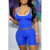 lovely Sportswear Patchwork Blue Two-piece Shorts Set