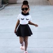 lovely Sweet O Neck Print White Girl Two-piece Skirt Set
