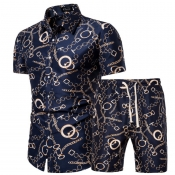 lovely Leisure Print Navy Blue Two-piece Shorts Set