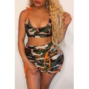 Lovely Camo Print Plus Size Two-piece Swimsuit