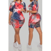 Lovely Casual Tie-dye Red Plus Size Two-piece Shorts Set