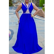 lovely Trendy Hot Drilling Decorative Blue Maxi Dr