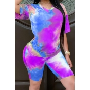 Lovely Casual Tie Dye Purple Two Piece Shorts Set