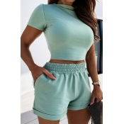 Lovely Casual Skinny Blue Two-piece Shorts Set