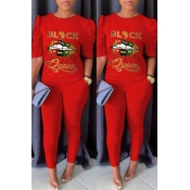 lovely Casual Lip Print Red Two-piece Pants Set