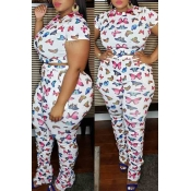 lovely Casual Butterfly Print White Plus Size Two-