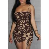 Lovely Sexy Print Brown Mini Dress