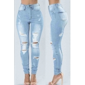 lovely Stylish High-waisted Broken Holes Baby Blue
