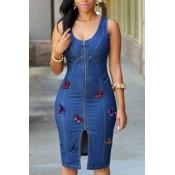 lovely Trendy Zipper Design Butterfly Deep Blue Mi
