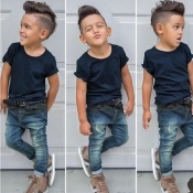 lovely Casual O Neck Basic Blue Boy Two-piece Pants Set