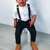 lovely Trendy Buttons Design White Boy Two-piece Pants Set