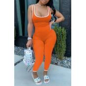 lovely Sportswear Patchwork Orange One-piece Jumpsuit