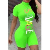 lovely Sportswear Letter Print Green One-piece Rom