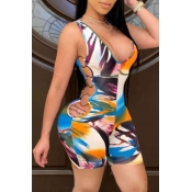 lovely Sportswear Print Hollow-out Multicolor One-