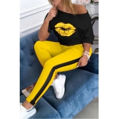 lovely Casual Lip Print Yellow Plus Size Two-piece