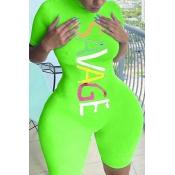 lovely Sportswear Letter Print Green Plus Size One
