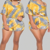 lovely Street V Neck Tie-dye Yellow Plus Size Two-