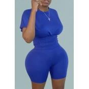 Lovely Casual O Neck Skinny Blue Plus Size Two-pie