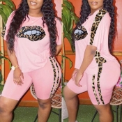 Lovely Street Lip Print Pink Plus Size Two-piece S