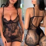 lovely Sexy See-through Black Sleepwear