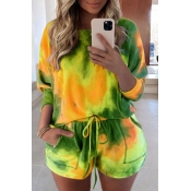 lovely Stylish Tie-dye Army GreenPlus Size Two-piece Shorts Set