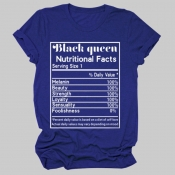 lovely Leisure O Neck Letter Print Blue Plus Size T-shirt