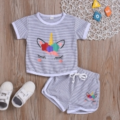 lovely Casual Striped Print Grey Girl Two-piece Shorts Set