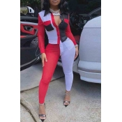 Lovely Street Color-lump Patchwork Red Two-piece Pants Set