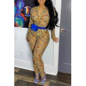 lovely Trendy Print Yellow One-piece Jumpsuit