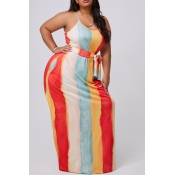 lovely Casual Striped Apricot Maxi Plus Size Dress