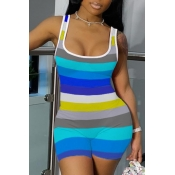 lovely Casual Striped Blue One-piece Romper