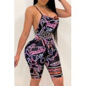 lovely Sexy Letter Print Pink One-piece Romper