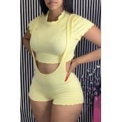 lovely Sweet Lace Design Yellow Two-piece Shorts S