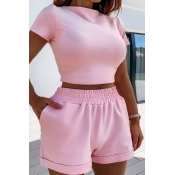 Lovely Casual Skinny Pink Two-piece Shorts Set