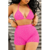 lovely Hot Drilling Decorative Pink Two-piece Swim